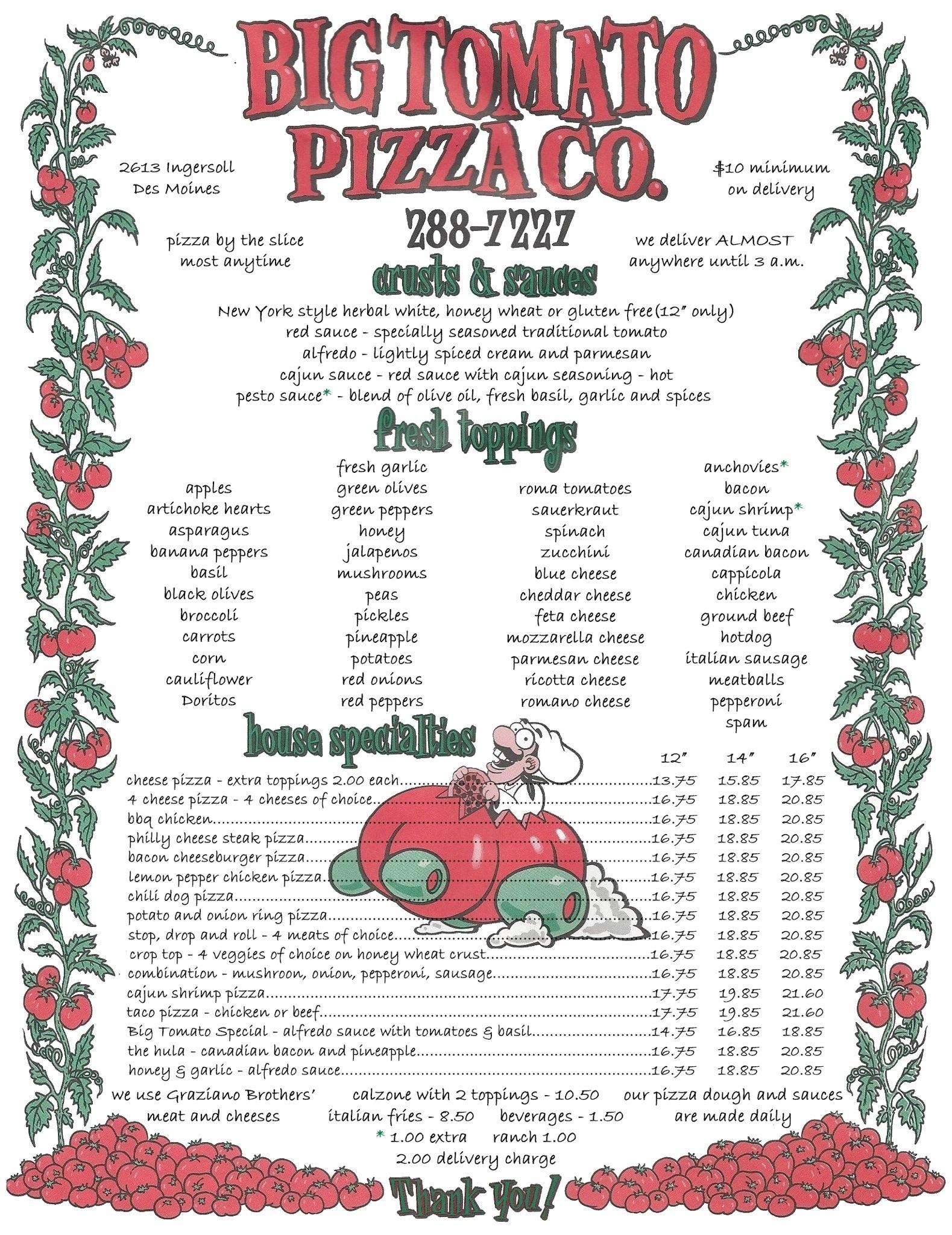 Big Tomato Pizza | Des Moines Best Pizza